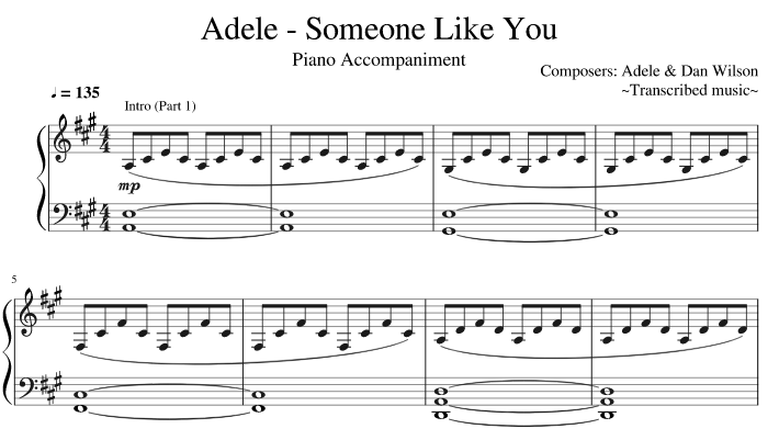 Someone Like You piano sheet