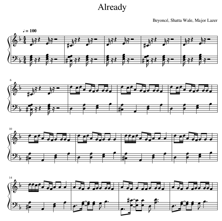 Beyonce — Already piano sheets